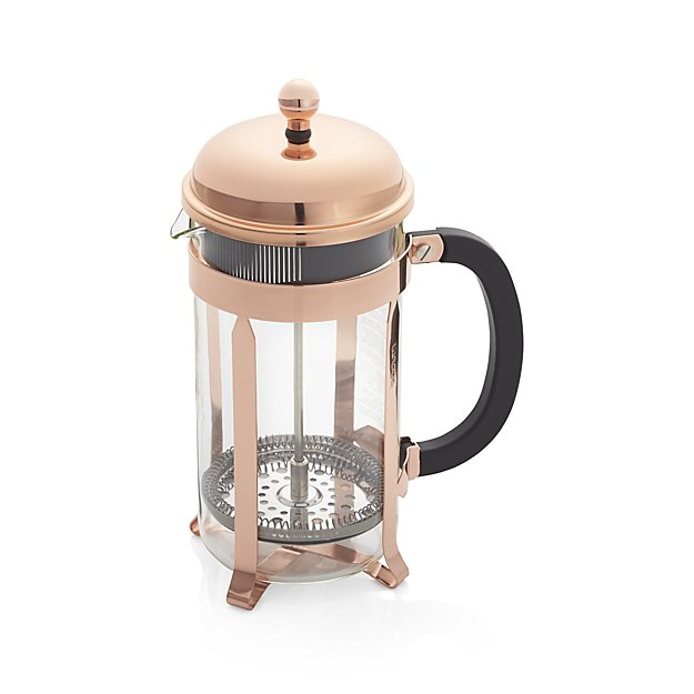Copper French Press | Lifestyle blogger Elle Bowes | White kitchen decor ideas