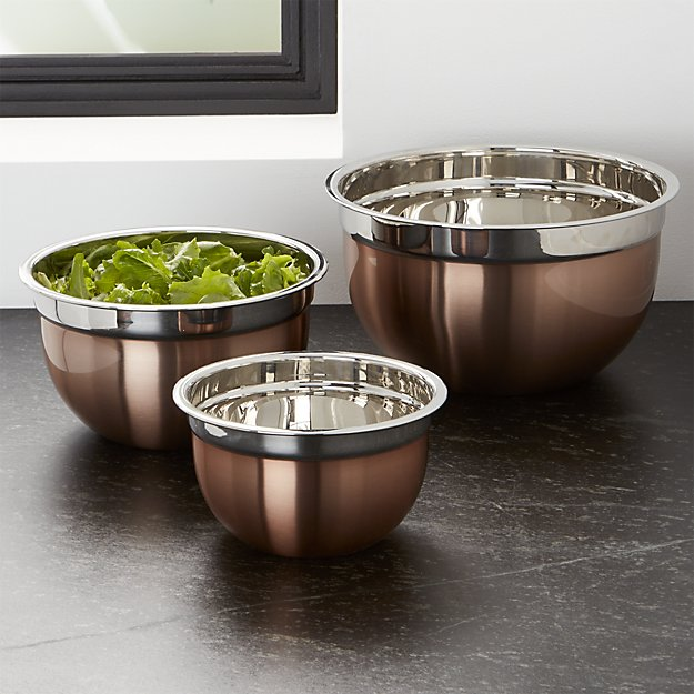 Crate & Barrel Copper Mixing Bowl Trio | Lifestyle blogger Elle Bowes | White kitchen decor ideas
