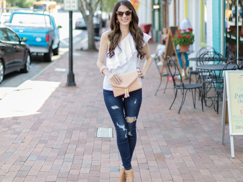 Off Shoulder Ruffles with Denim