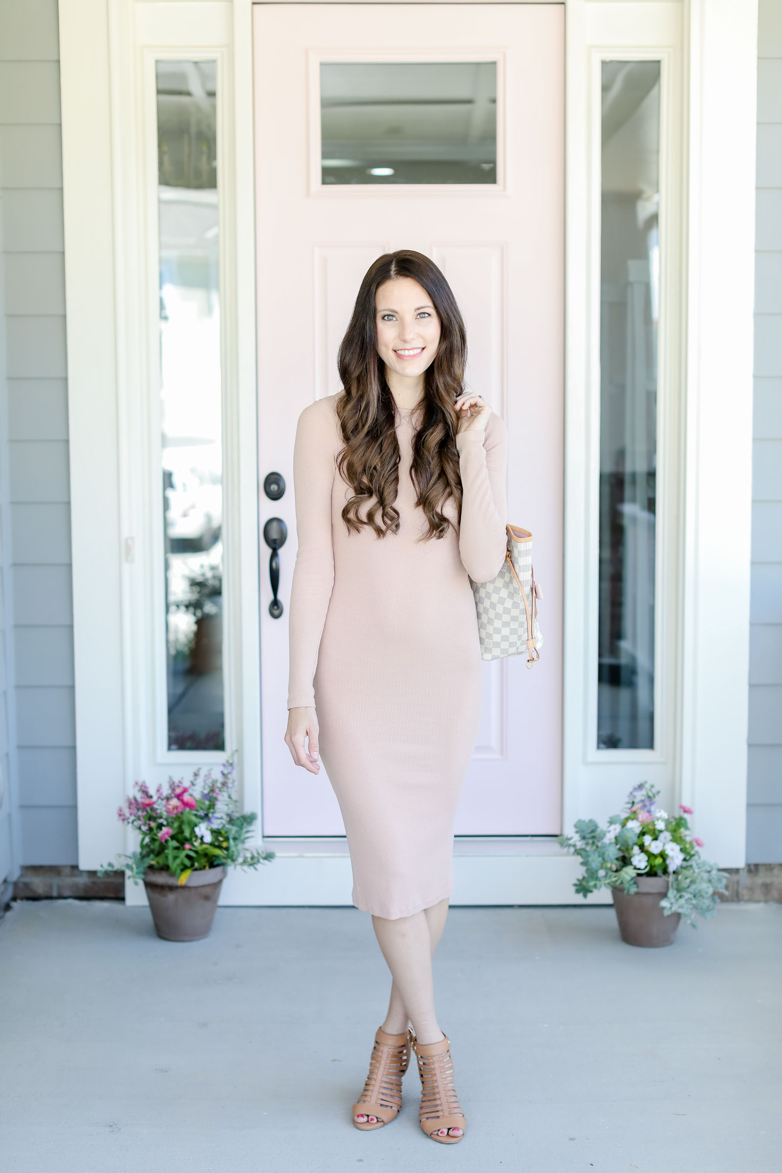 national pink day blush pink fitted dress pink long sleeve dress asos dress | elle bowes