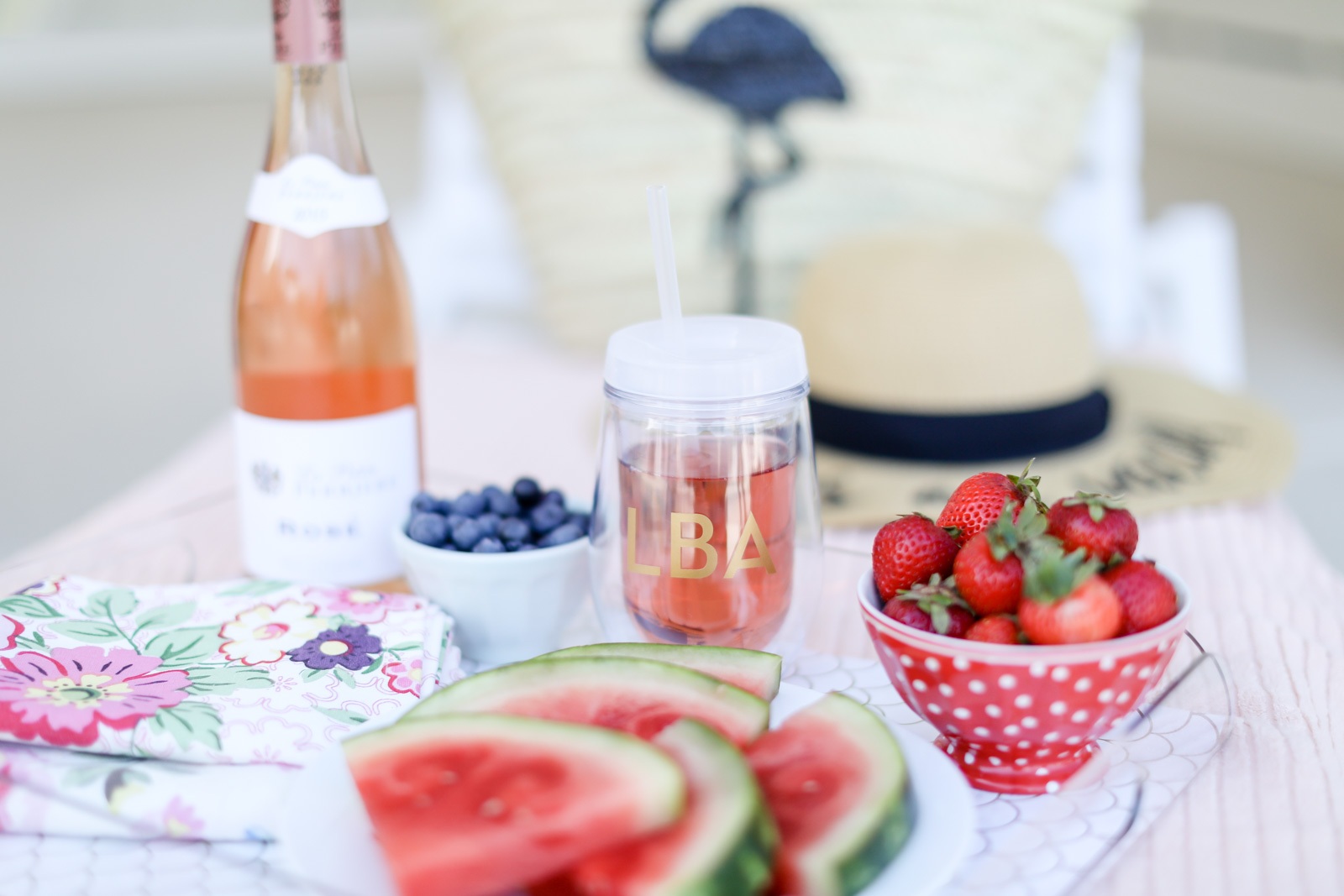 rose all day wine tumbler with monogram | elle bowes