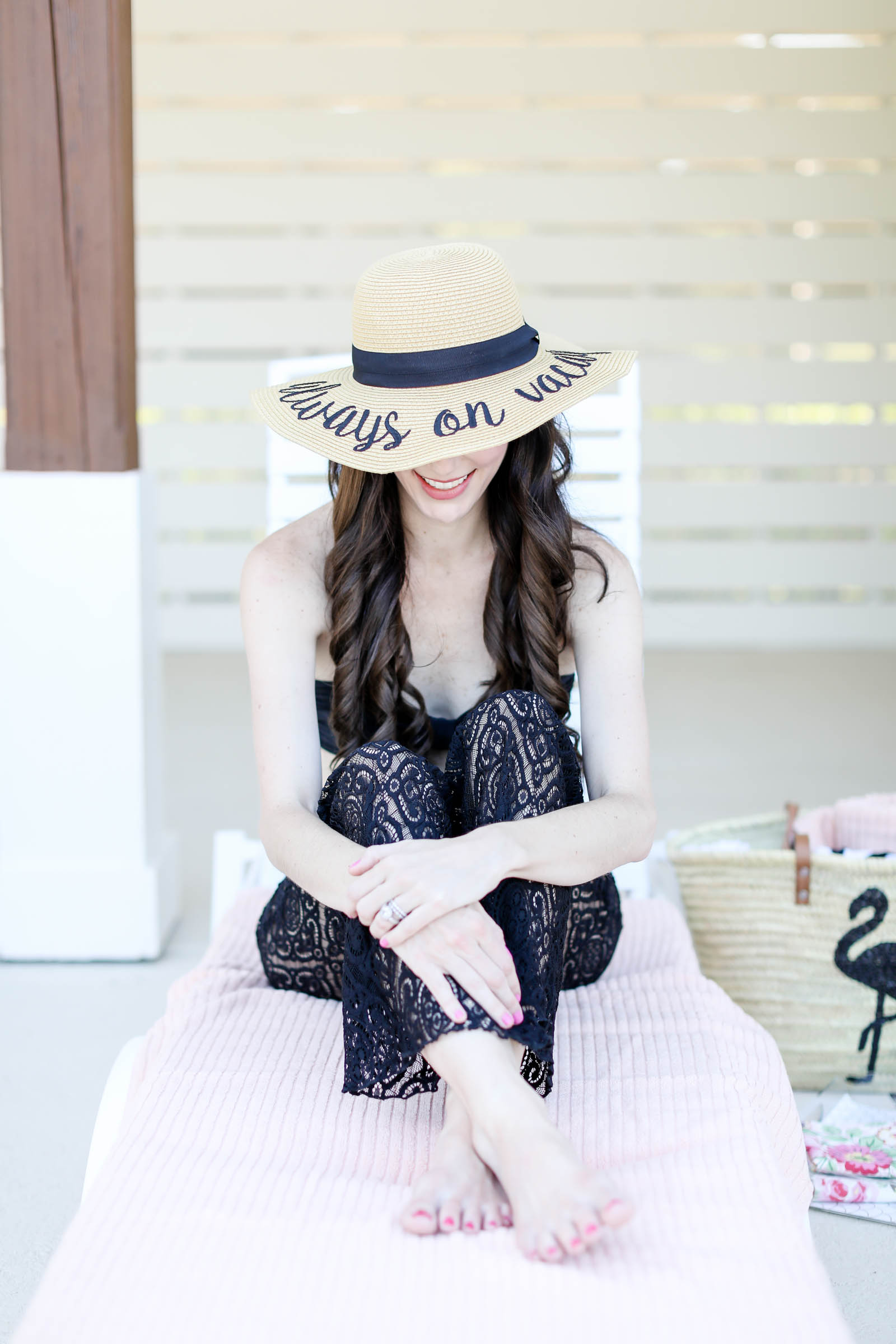 lace pants cover up with hat | elle bowes