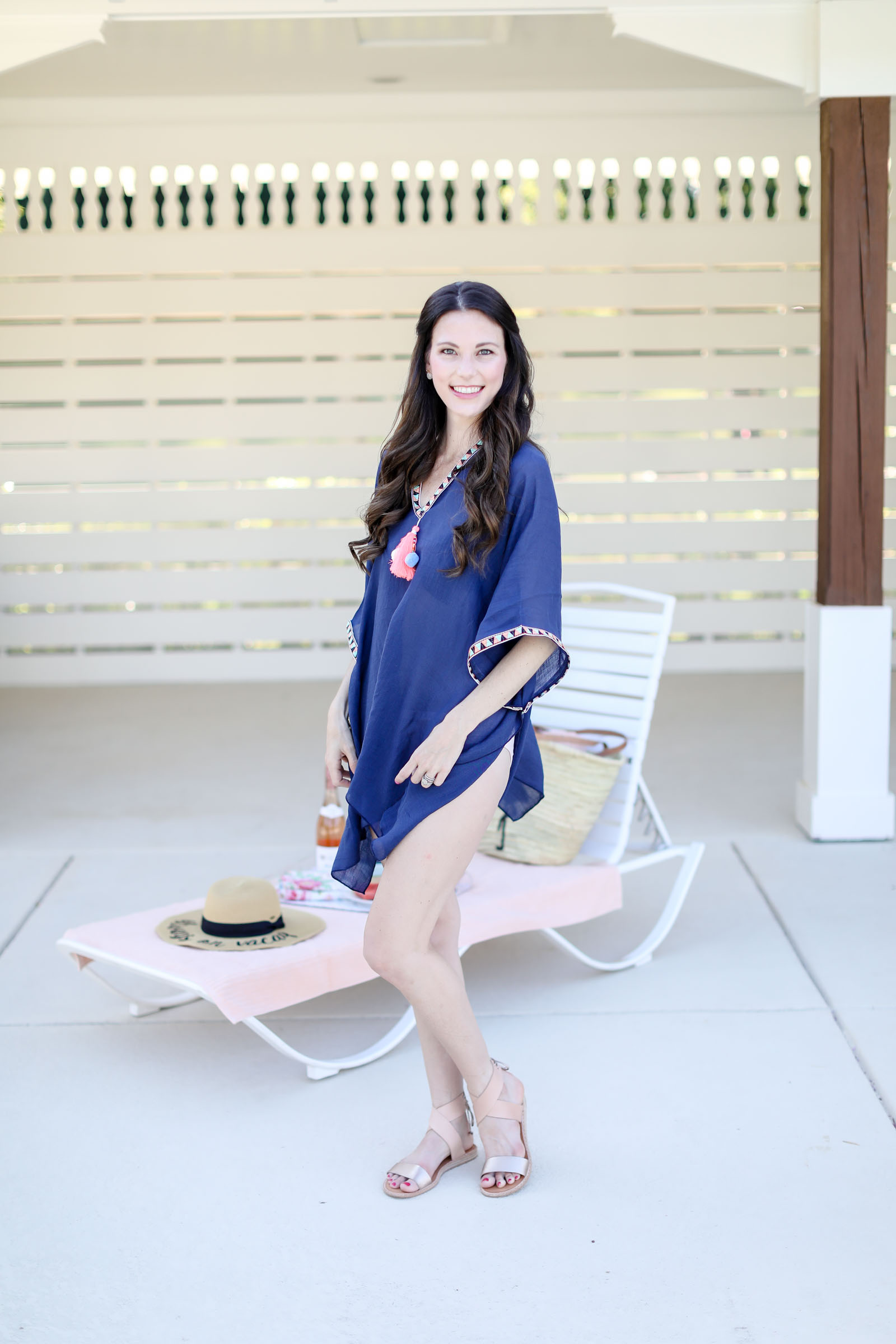 navy cover up flats blush gold tones | elle bowes