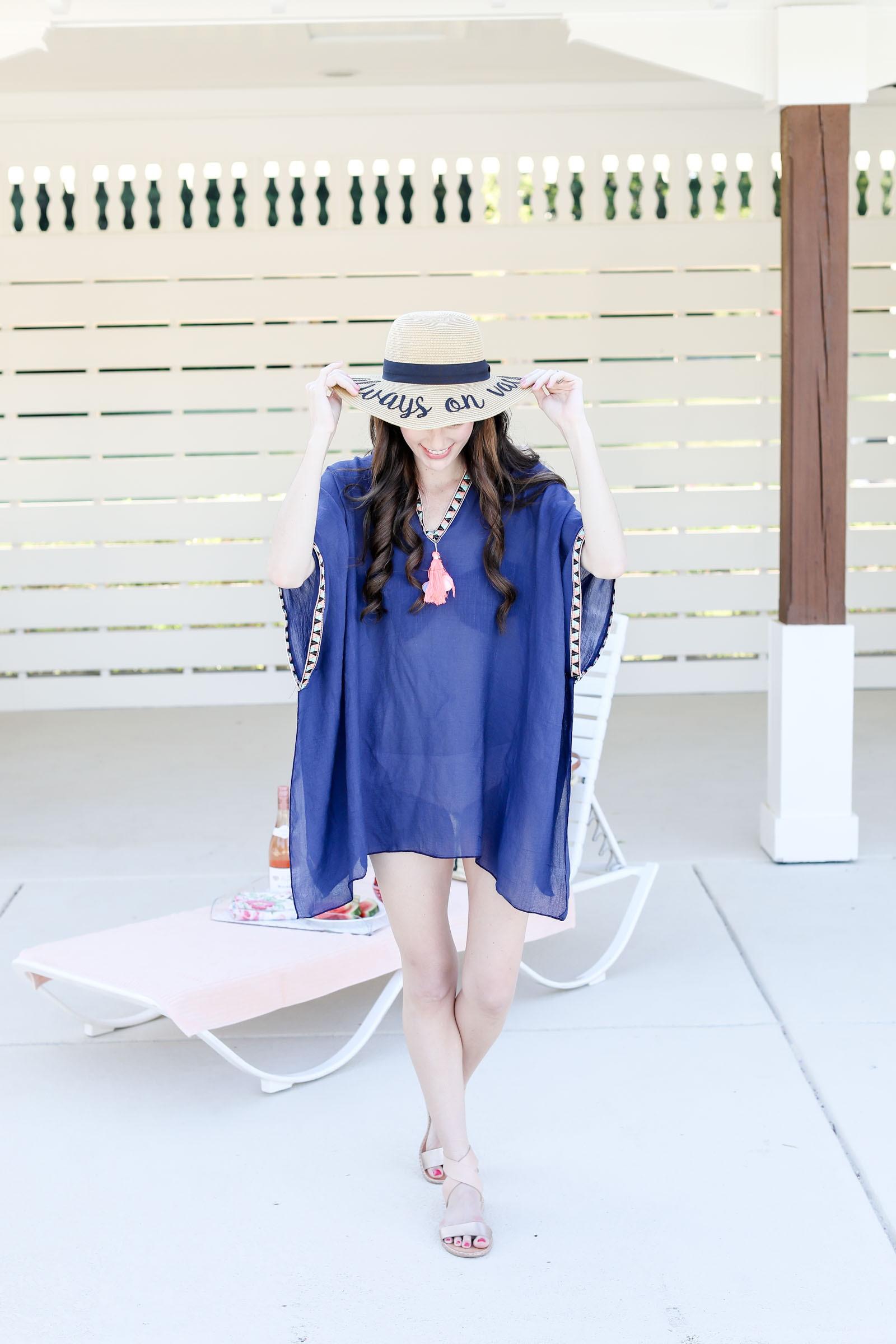 summer hat straw hat navy cover up | elle bowes
