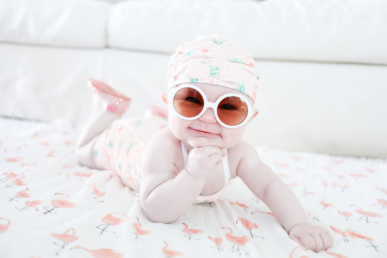 pregnant in summer baby girl bathing suit swimsuit jellies sunglasses | ellebowes