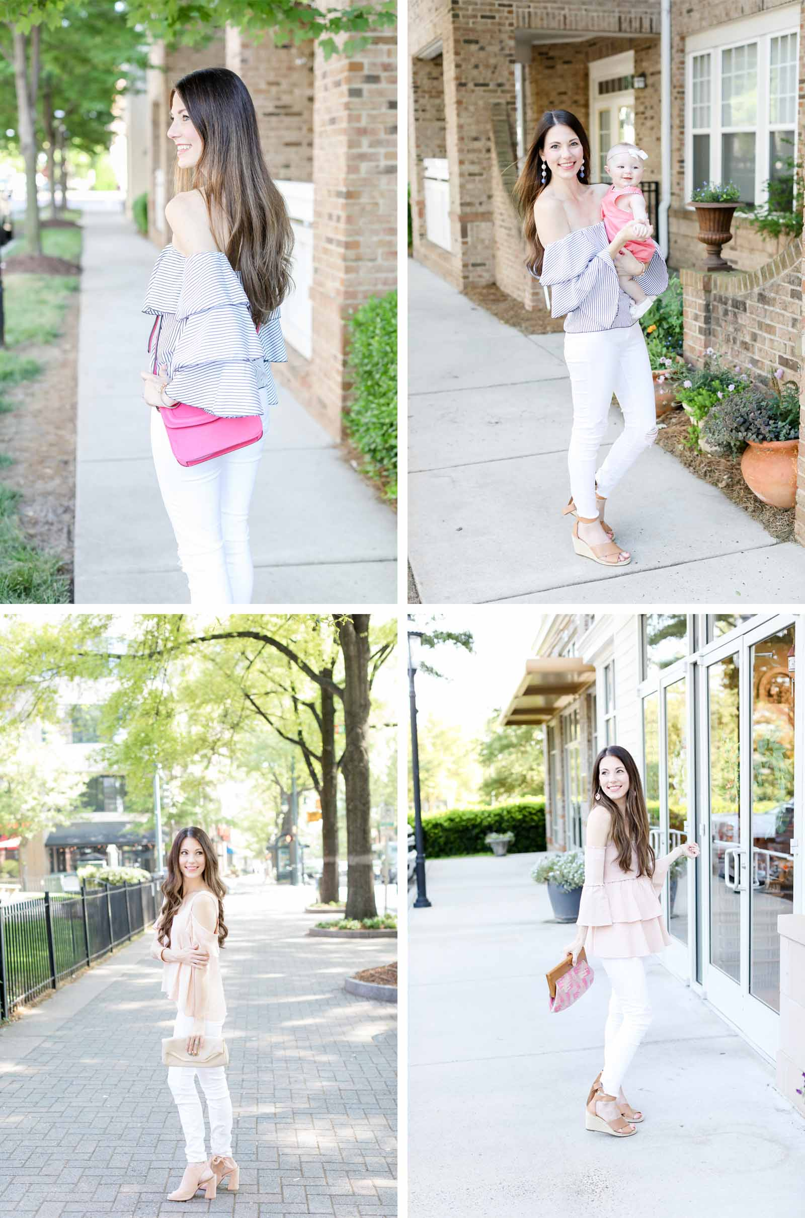 national pink day pink cross body bag pink cold shoulder top pink ruffle top | elle bows