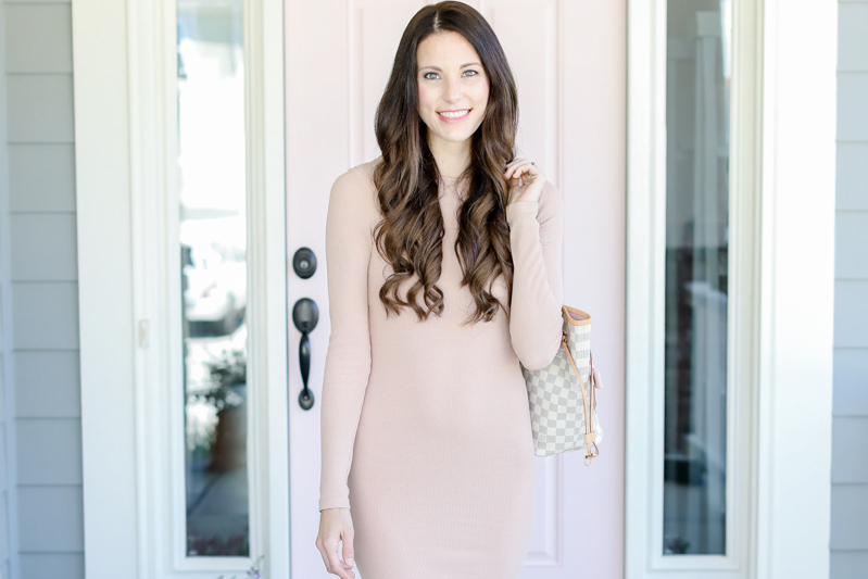 national pink day fitted pink blush dress maternity dress | elle bowes