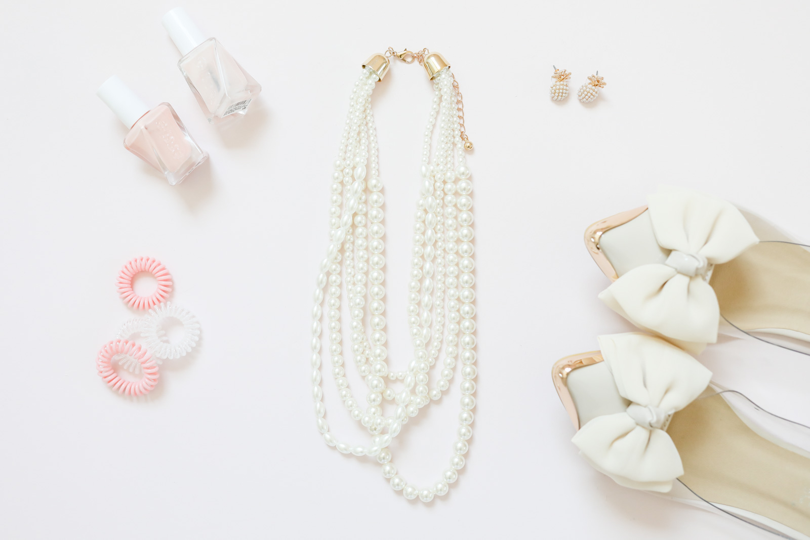 pearl layered necklace | pink nail polish | cute bow shoes | pineapple earrings | Summer accessories | pink and pearls | every day joie by elle bowes