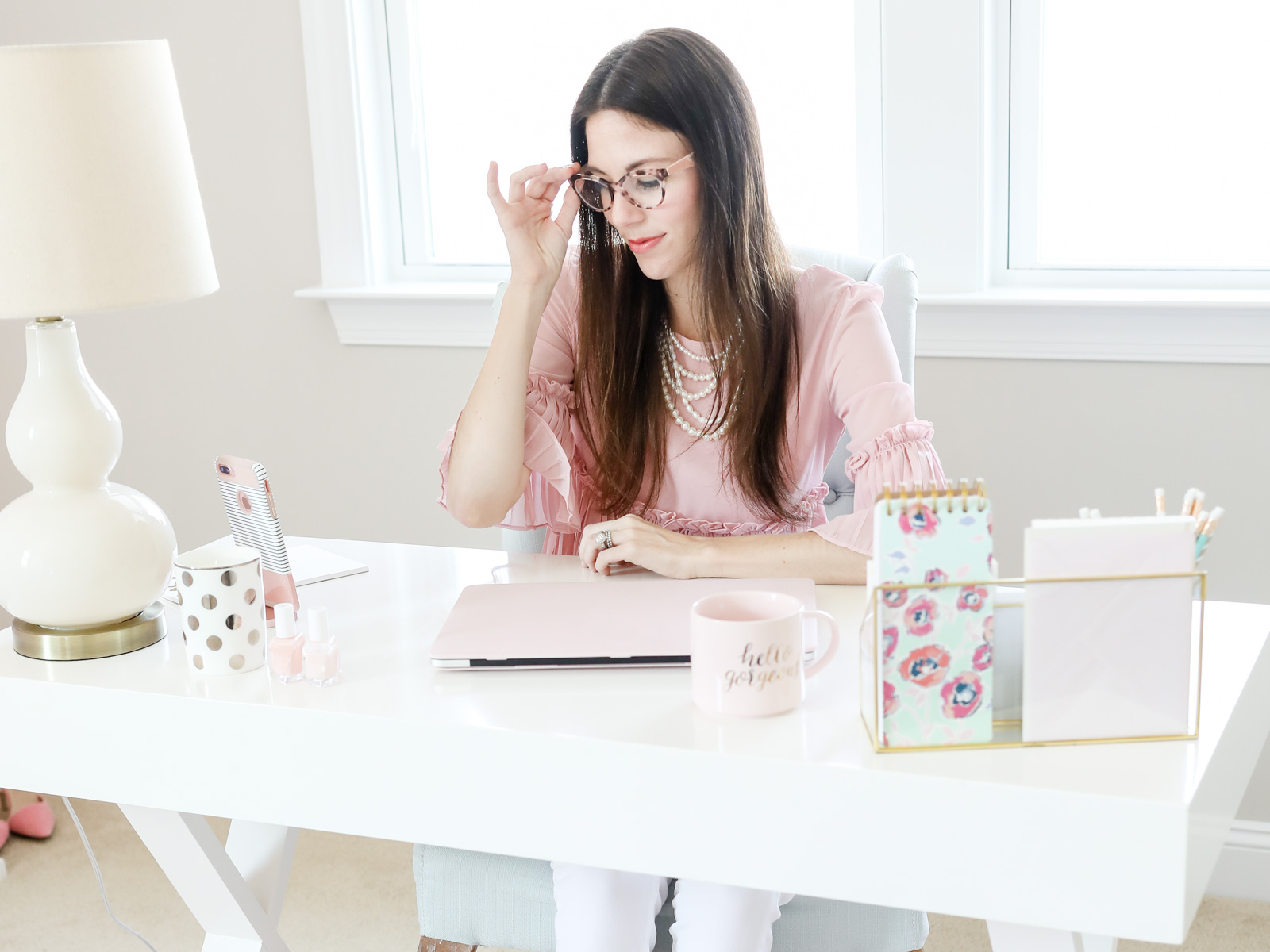 pink ruffle frill top   pink office   pink office decor   pink cloffice   every day joie by elle bowes