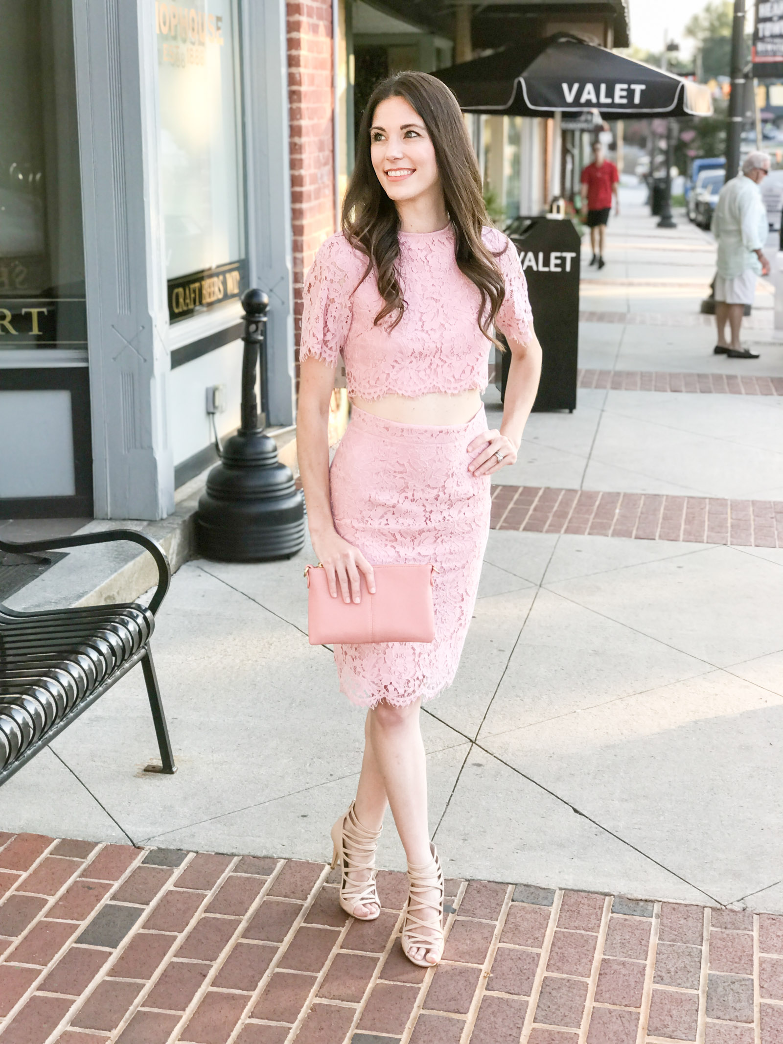 pink blush lace body con crop top dress skirt nude heels | every day joie by elle bowes